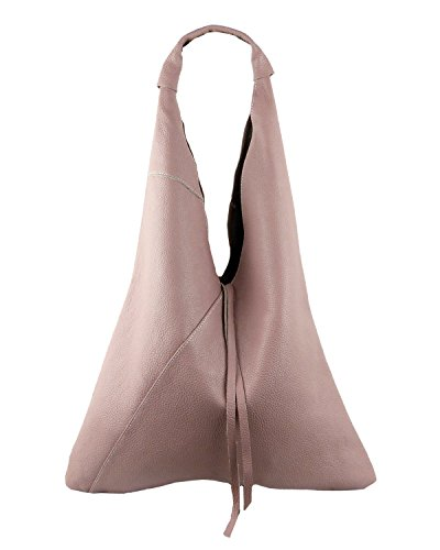 Damen Echtleder Shopper Trapez in vielen Farben und Metallic Schultertasche Henkeltasche (Rosa) (Leder Rosa Aktentasche)
