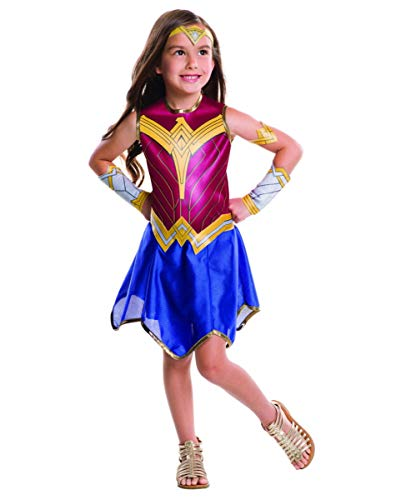 Horror-Shop Wonder Woman Kinderkostüm 6-TLG. als offizielles DC-Comic Superheldin Kostüm für Mädchen M (Comic Heldin Wonder Woman Kostüm)