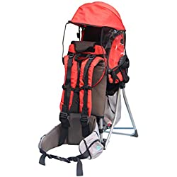 Porte bébé Support Dorsal Transporteur pour l'enfant pour les randonnées et l'excursion Rouge-orange par Pawsfiesta