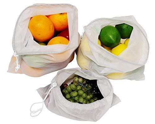 Earthwise wiederverwendbare Netztaschen für Obst und Gemüse - Set bestehend aus 9 - 3 verschiedenen Größen, 30 X 43 cm, 30 X 36 cm, 30 X 20 cm