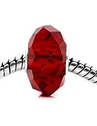 De perlas de cristal translúcido, Murano Beads Pandora Chamilia Fit Biagi Ruby, color rojo