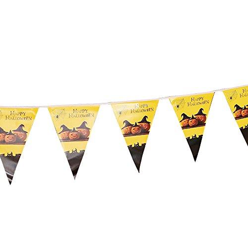 YWLINK Halloween Wimpeln Girlande,Wimpelkette Stoff,Holiday Indoor Im Freien FüR Party, Garten, Bar, Laden, Cafe Dekoration(B,28*19cm)