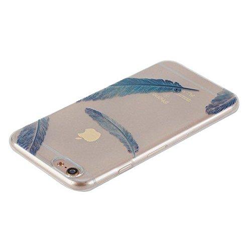 Etsue Custodia iPhone 6 Plus Trasparente,Colorate Dipinto Modello Con Disegni,iPhone 6S Plus Cover in Silicone Tpu Flessible Sottile Antiscivolo e Antigraffio Protettivo Cover Bumper Case Per iPhone 6 Piuma Blu