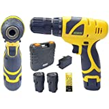 Cheston Cordless Drill Screwdriver Driver 10mm Keyless Chuck 12V with 2 Batteries LED Torch Variable Speed and Torque Setting (19+1) (Select Models with bits Combo)