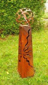 *Gartendeko Fackelsäule Rost Fackel Säule 100 cm mit Feuerkugel*