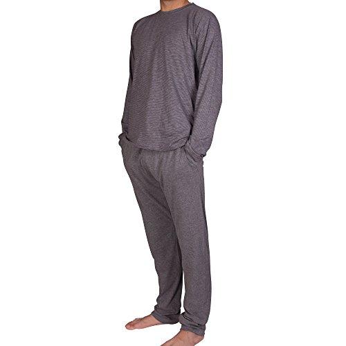 Luca David - Olden Glory - Jersey-Longsleeve für Herren - Gemütliches Lounge-Sweatshirt Smoke geringelt