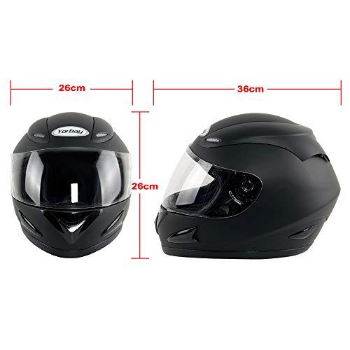 Yorbay Motorradhelm Integralhelm Sturzhelm Helm mit verschienden Typen & in unterschiedlichen Größen (Schwarz matt, M) - 2
