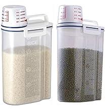 LJH portátil de plástico caja de almacenamiento de alimentos grano harina de cereales dispensador de arroz