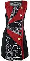 #682 Damen Kleid Patchwork Etuikleid Abendkleid Tunika Winter Kleid Schwarz 34 36 38 40 42 44