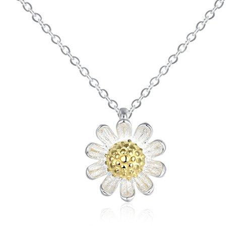 Plata de Ley 925HMILYDYK delicado Daisy girasol flor Bud chapado en oro colgante collar para las mujeres niñas