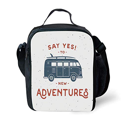 MLNHY School Supplies Vintage Decor,New Adventures Typography with Little Van Hippie Lifestyle Free Spirit,Cadet Blue White for Girls or Boys Washable -