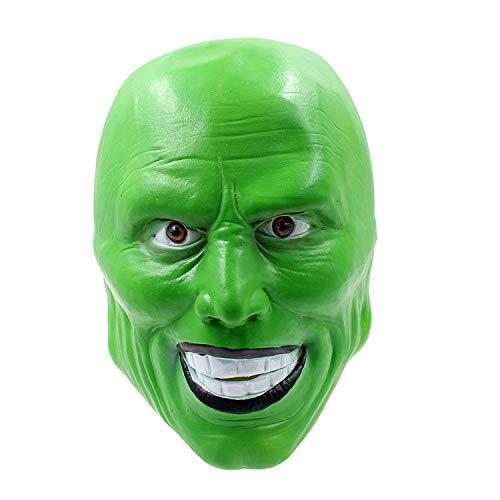 Wsjfc Halloween Maske, Horror Perücke Maske, lustige Ball Maske, Latex Devil Show Requisiten, Urlaub Lieferungen, grün,Grün -