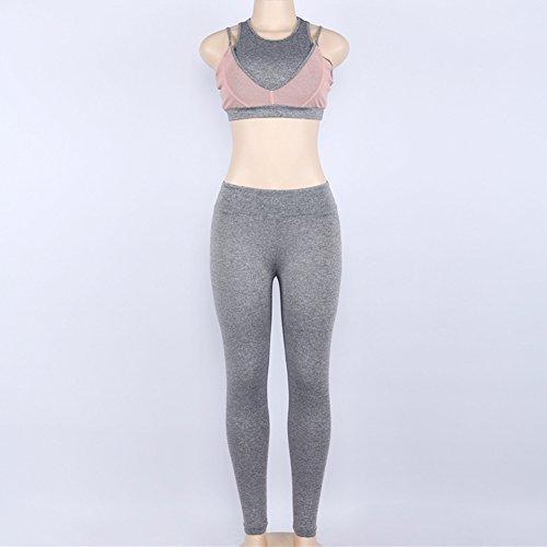 Hibote Femmes Sportswear 2 Pcs / Set Survêtement Haute Élasticité Sportswear Débardeurs + Leggings Costumes de fitness pour le yoga, la course et d'autres activités Gris