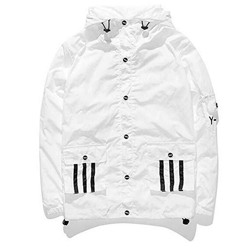 aker, Coole Windjacke Kapuzenjacke Streetwear Unisex Damen/Herren/Jungen Mädchen Reißverschluss Jacke (Weiß-2, M) ()