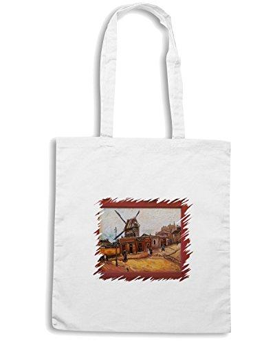 T-Shirtshock - Borsa Shopping TDA0067 van gogh19 le moulin de la galette Bianco
