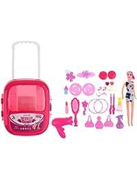 non-brand Sharplace Niñas Bolso Cosmético Juguete Carry Case Kids Play Set Secador de Pelo Espejo