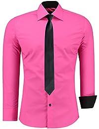 Jeel para hombre vestido formal Casual–Camisa de manga larga para hombre negocio boda Slim Fit Oversize S-6X L + negro Tie