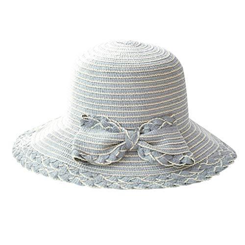 EUCoo Damen Sommerhut Blende Faltbarer Sonnenschutz Sonnenhut Bogenstrohhut Strandsand Fischerhut(Grau)