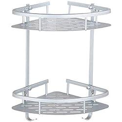 Cherryer Etagère Angle 2 Niveaux Support Salle de Bain en Aluminium Durable Tablette Angle avec Crochet Etagère Salle de Bain pour Ranger Shampooing Savon Serviteur de Douche