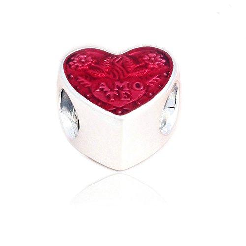 Funshopp san valentino rossi latina love heart transparent cerise 925argento perline fai da te bracciali per originale pandora charm fashion jewelry