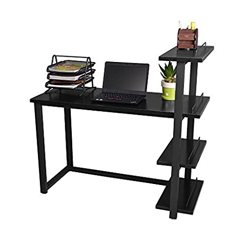 Bigtree Computer Desk With 4 Tiers Shelf Bookcase Corner Home Office PC Laptop Study Workstation Corner Table (Walnut+white)