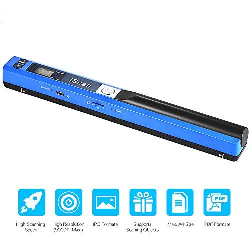 LQQZZZ Tragbarer Scanner, Kabelloser Handscanner A4-Dokumentenscanner 900DPI JPG/PDF LCD-Monitor Unterstützt Bis Zu 32G Micro SD-Karte