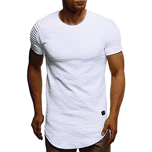 HULKY Vendita Uomo Manica Corta T-Shirts丨Estate Outdoor Camicia Running Sports Plaid Pullover丨Loose Felpa Casual Tops per Gli Uomini(Bianco,x-Large)
