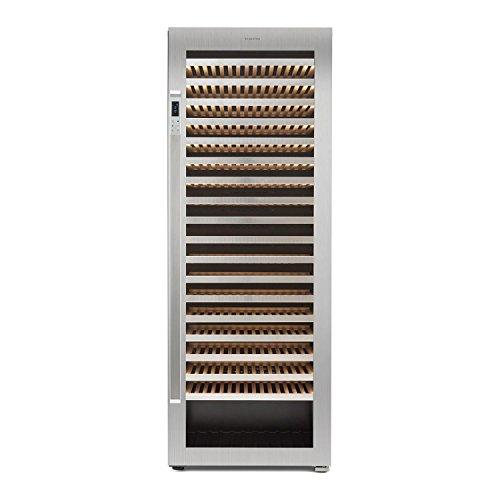 Klarstein Botella 300S • frigorifero per vini e bevande • 642 L • 303 bottiglie • 18 ripiani in legno • Pannello touch • display LCD • porta in acciaio inox • Classe energetica A • Nero-argento