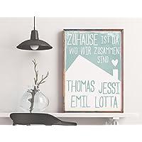 Dein Familien-Poster: Zuhause ist da wo wir zusammen sind, pastell blau, mit den Namen Deiner Familienmitglieder