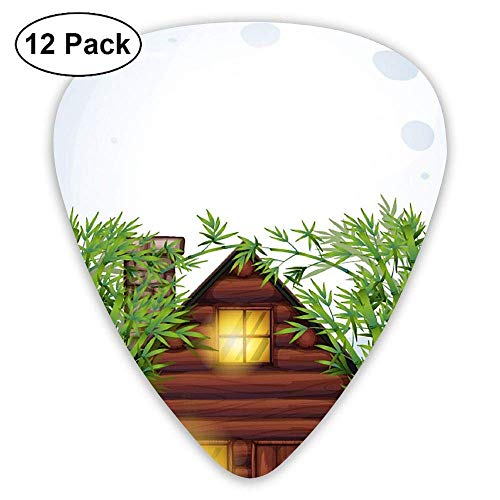 Scene With Wooden Hut At Night Bamboo Guitar Picks (12 Pack) Unique Designs Guitar Picks Performance Womens Hut