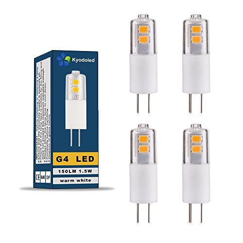 LED Lampe Birne G4 Energiesparlampe, 1,5 Watt ersetzt diese LED 10W Halogen-Lampe, 150 Lumen, AC/DC 12V, 3000K, Bi-Pin Lampe, warmweiß, 4 Stück in jeder Packung, SMD 2835 Leds, 330º Abstrahlwinkel