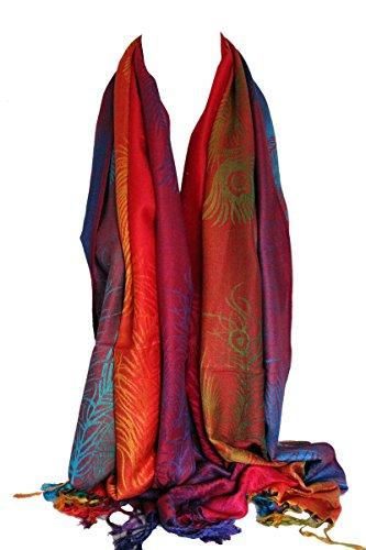 Peacock Feather Print Regenbogen Farben große Pashmina-Feel Wrap Scarf Schal Hijab (190 x 70 cm mit ca. 4 cm ' Quasten, Regenbogen 11) (Schal Für Hijab)