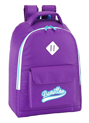 Benetton - Mochila adaptable, 32 x 43 cm, color morado (Safta 611552704)