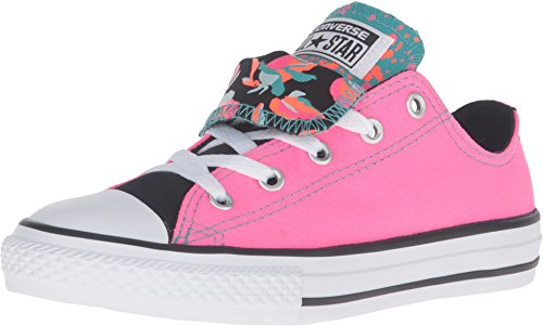 Converse Unisex Chuck Taylor All Star Ox Low Top Classic Neon Pink White Black Sneakers - 2.5 Little Kid M - Converse Chuck Taylor Double Tongue
