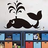 Tema del océano gran ballena pegatinas de pared animal encantador tatuajes de pared para la habitación de los niños adhesivo impermeable Wallpaper Nursery Baby De60 cm X 44 cm