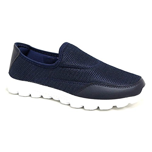 Ladies Flexi Surf Comfort Plimsoll Casual Walk Pumps Sports Trainer Holiday  Go Shoes Size 4-8 (4 UK, Navy / White)