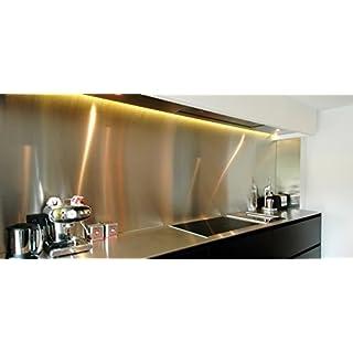 AluCouleur Küchen-Arbeitsplatte aus gebürstetem Edelstahl 75cm x 90cm, Stärke 1mm