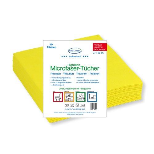Panno in microfibra Spun giallo-10pezzi 37x 38cm-PITTOGRAMMA bagno-ideale per la pulizia di bagno e doccia