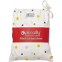 Piccalilly algodón orgánico rojo y amarillo bebé niñas de mariquita impresión sábana bajera ajustable en una bolsa