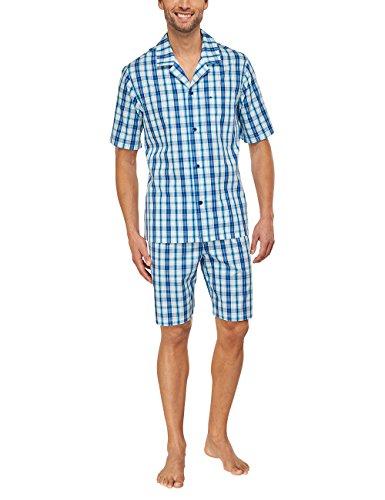 Seidensticker Herren Zweiteiliger Schlafanzug Pyjama kurz, Gr. Small (Herstellergröße: 48), Blau (blau 800) (Herren Popeline Kurz)