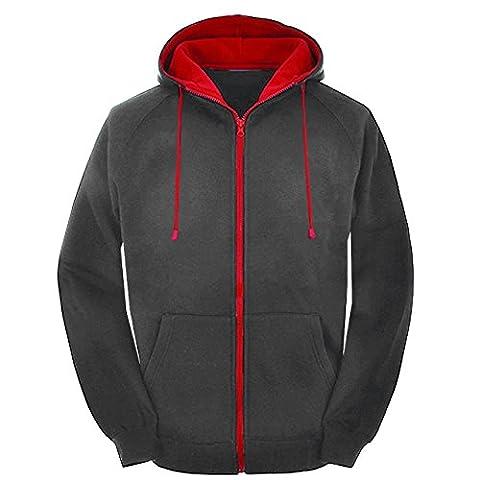 Mens Contrast Black and red zip varsity retro zip up