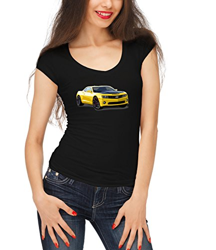 Billion Group | Yellow Beast | American Muscle | Fast Car Club | Women's Megan Crew Neck T-Shirt Nero Small