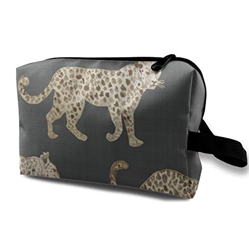 Leopard Parade Brown Black Travel Makeup Cute Cosmetic Case Organizer Portable Storage Bag for Women - Parade Leopard
