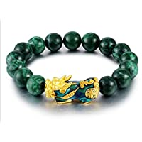 Ikben Jade Stone Bracelet With Lucky InchBrave Troops Inch, 15 Beads Charm Bracelet-ST0742