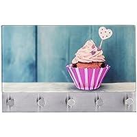 Wenko 50412100 Cupcake Attaccapanni, Magnetico, 5 Ganci, Vetro Temperato, Multicolore