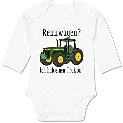 Shirtracer Fahrzeuge Baby - Rennwagen? Traktor! - 6/12 Monate - Weiß - BZ30 - Baby Body Langarm