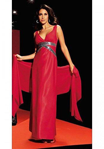 Laura Scott Evening Damen-Kleid Abendkleid mit Schal Rot Größe 17 (34)