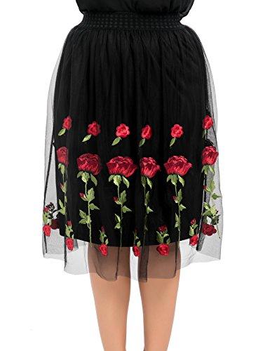 Chicwe Damen Full Strecken Taille Embroidery Große Größen Mesh Rock Schwarz&Rot 4X (Knit Skirt Flare)
