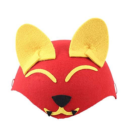 Toruiwa Halloween Mütze Unisex Süßes Tier Kostüm Hut Kinder für Halloween Geburtstag Cosplay Party Karneval Fasching 19.5 * 8.5cm (Fuchs)