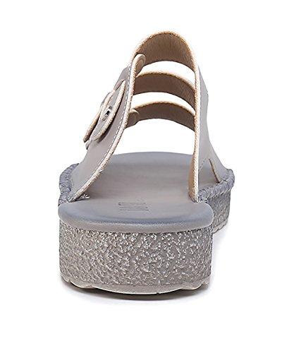CHAOXIANG Pantofole Da Donna Antiscivolo Con tacco Ciabatte Piatte Sandali Da Surf Nuova Estate Ciabatte Spiaggia ( Colore : Verde , dimensioni : EU35.5/UK4/CN36 ) Grigio